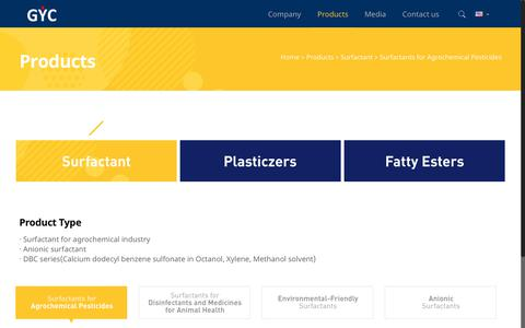 Screenshot of Products Page gyc93.com - Surfactants for Agrochemical Pesticides - (주)거영 웹사이트 - captured Nov. 10, 2018