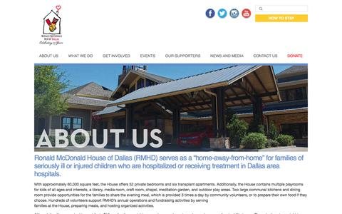Screenshot of About Page rmhdallas.org - About Us | Ronald McDonald House of Dallas - captured Feb. 15, 2016