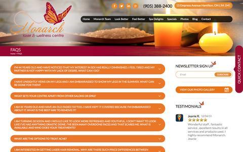 Screenshot of FAQ Page monarchwellness.ca - Monarch Laser & Wellness Centre | FAQS - captured Feb. 23, 2016