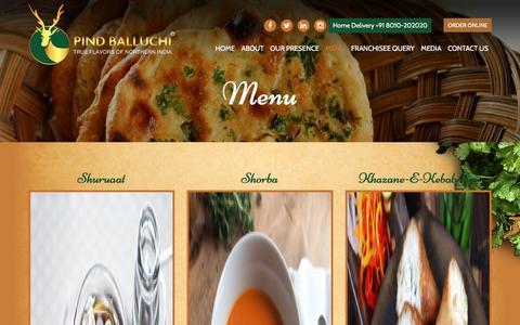 Screenshot of Menu Page pindballuchi.com - Pind Balluchi - captured May 17, 2017