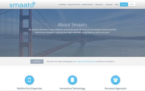 Screenshot of About Page smaato.com - About The Company - Smaato - captured May 31, 2019