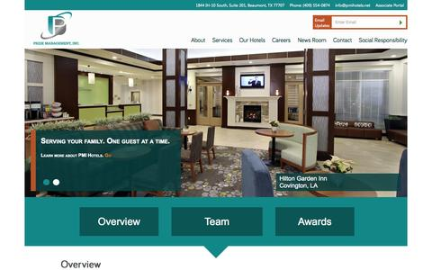 Screenshot of About Page pmihotels.net - Pride Management Inc | Hotel Development and Management - captured Oct. 2, 2014