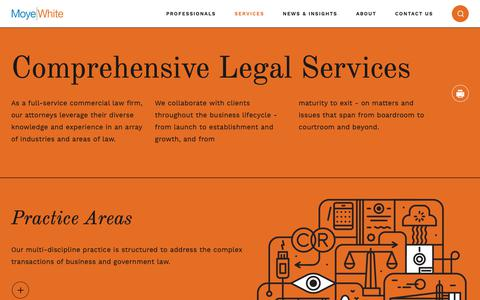 Screenshot of Services Page moyewhite.com - Commercial Law Firm, Colorado Legal Services | Moye White - captured Oct. 18, 2018