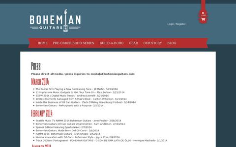 Screenshot of Press Page bohemianguitars.com - Press - Bohemian Guitars - captured July 20, 2014