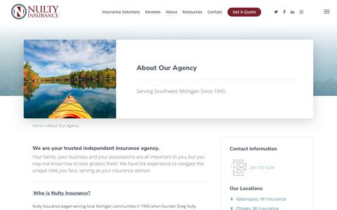 Screenshot of About Page nulty.com - About Our Agency - Nulty Insurance - captured Sept. 21, 2019