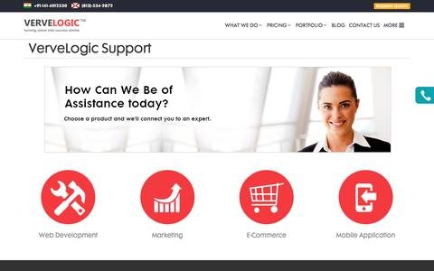 Screenshot of Support Page vervelogic.com - VerveLogic Support - captured Aug. 12, 2016