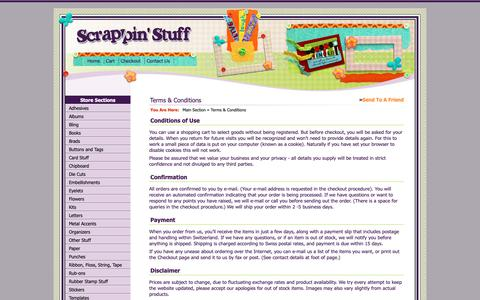 Screenshot of Terms Page scrappinstuff.ch - Terms & Conditions > Main Section > Scrappin Stuff Scrapbooking and Cards - captured Oct. 31, 2018