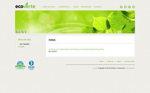 Screenshot of Press Page ecoverte.com - EcoVerte: News - captured Sept. 30, 2014