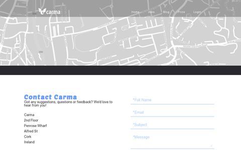 Screenshot of Contact Page carmacarpool.com - Carma - Contact - captured July 19, 2014