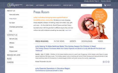 Screenshot of Press Page zulily.com - In The News | zulily - captured Jan. 11, 2017