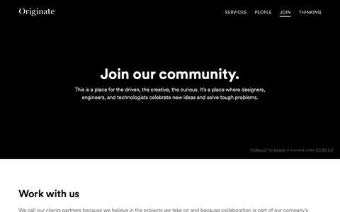 Screenshot of Signup Page originate.com - Join | Originate - captured Nov. 8, 2018