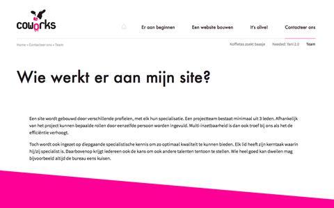 Screenshot of Team Page coworks.be - Wie werkt er aan mijn site?   Coworks Web Development - captured July 22, 2018