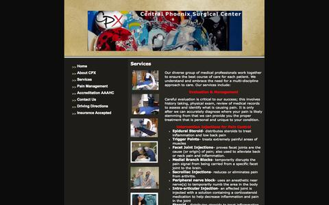 Screenshot of Services Page azsurgicalcenters.com - Headaches, Central Phoenix Surgical Center Phoenix, AZ Services - captured Oct. 2, 2014
