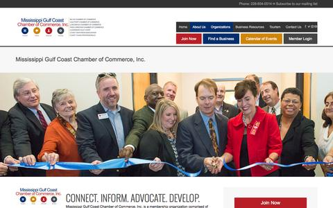 Screenshot of About Page mscoastchamber.com - Mississippi Gulf Coast Chamber of Commerce, Inc. - captured Oct. 7, 2014