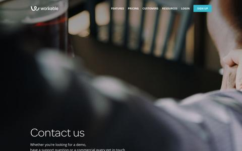 Screenshot of Contact Page workable.com - Contact Us | Workable - captured Dec. 11, 2015