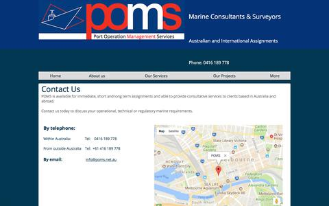 Screenshot of Contact Page poms.net.au - Contact Us | Melbourne | Port Operation Management Services - captured Feb. 14, 2018