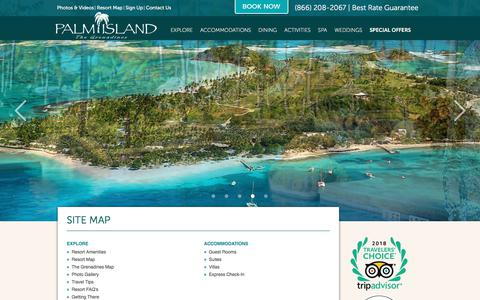 Screenshot of Site Map Page palmislandresortgrenadines.com - Palm Island Resort Grenadines & Caribbean Vacation - Sitemap - captured Sept. 24, 2018