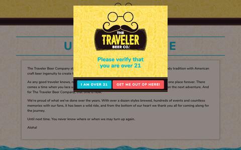 Screenshot of About Page travelerbeer.com - Until next time - Traveler Beer Company - captured Nov. 17, 2018