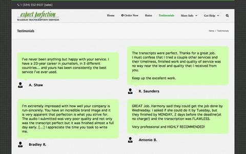 Screenshot of Testimonials Page expectperfection.com - Testimonials for Expect Perfection   Raleigh, NC Transcription Company - captured Nov. 14, 2016