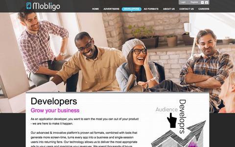 Screenshot of Developers Page mobligo.com - Mobligo - Mobile Apps Monetization and Distribution Platform - Developers - captured July 2, 2016