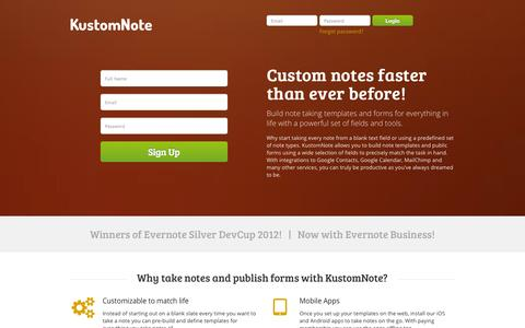 Screenshot of Home Page kustomnote.com - KustomNote - Custom note taking templates and forms for Evernote - captured Sept. 19, 2014