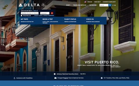 Screenshot of Home Page delta.com - Airline Tickets and Flights to Worldwide Destinations : Delta Air Lines - captured Dec. 18, 2015