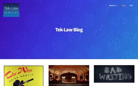 Screenshot of Blog tek-law.com - Blog / Tek-Law Services - captured Oct. 20, 2018
