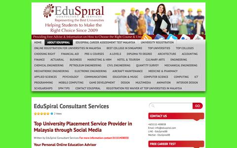Screenshot of About Page eduspiral.com - EduSpiral Consultant Services | EduSpiral Consultant Services - Education advise on choosing the best universities & top colleges in Malaysia & Singapore - captured Oct. 26, 2016