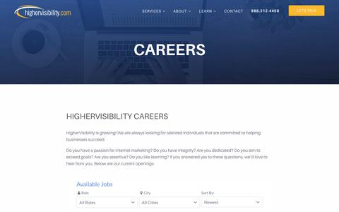 Screenshot of Jobs Page highervisibility.com - Careers | HigherVisibility - captured Jan. 13, 2018