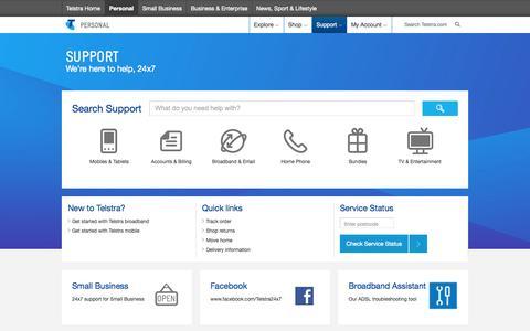 Screenshot of Support Page telstra.com.au - Support - captured Sept. 18, 2014