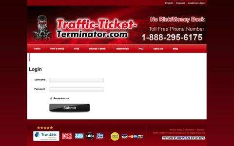 Screenshot of Login Page traffic-ticket-terminator.com - Login - captured Nov. 4, 2014