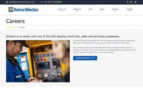 Screenshot of Jobs Page rotrexwinches.co.uk - Careers with Rotrex Winches, contact us to find out more..Rotrex Winches - captured Aug. 15, 2016