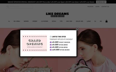Screenshot of Home Page likedreamsusa.com - Wholesale Like Dreams USA Handbags - captured July 8, 2018