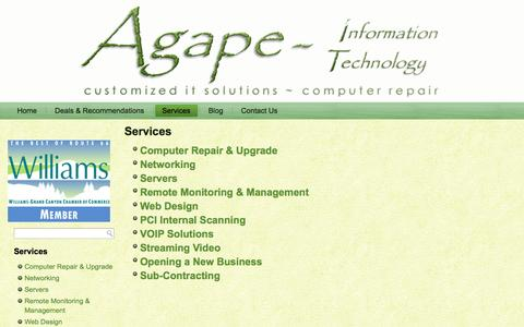 Screenshot of Services Page agape-it.com - Services - Agape Information TechnologyAgape Information Technology - captured Oct. 4, 2014