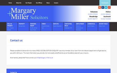 Screenshot of Contact Page margary-miller.co.uk - Contact us - Margary + Miller - captured Jan. 9, 2016