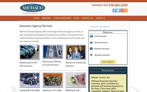 Screenshot of Services Page michaudinsurance.com - Insurance Agency Services | Michaud Insurance Agency - captured Feb. 2, 2016