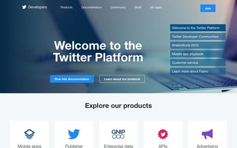 Screenshot of Developers Page twitter.com - Welcome — Twitter Developers - captured Oct. 27, 2016