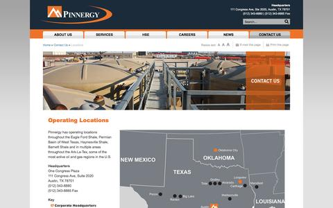 Screenshot of Locations Page pinnergy.com - Operating Locations -  Pinnergy | Success Through Service - captured Dec. 9, 2015