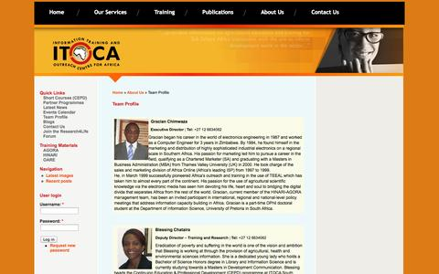 Screenshot of Team Page itoca.org - Team Profile | ITOCA - captured Sept. 30, 2014