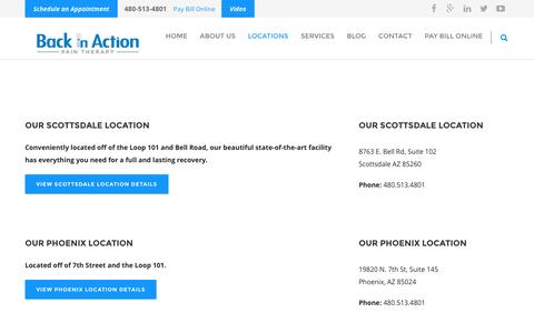 Screenshot of Locations Page biaofscottsdale.com - Locations: Back in Action Pain Management Clinics in Greater Phoenix - captured Nov. 22, 2016