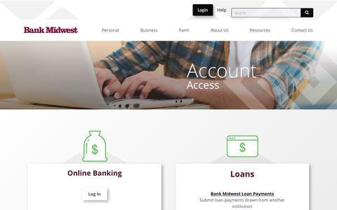 Screenshot of Login Page bankmidwest.com - Login - Bank Midwest - captured Dec. 8, 2019