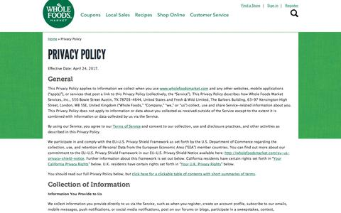 Privacy Policy | Whole Foods Market