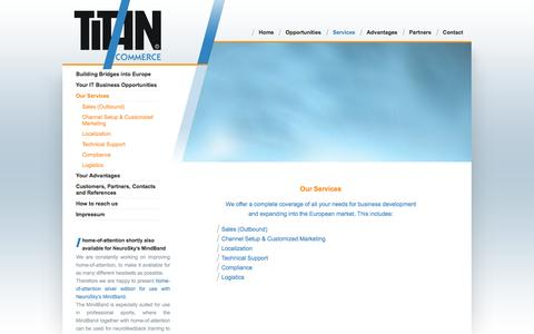 Screenshot of Services Page titan-commerce.com - Our Services - captured Oct. 7, 2014