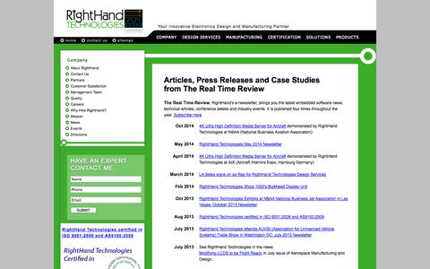 Screenshot of Press Page righthandtech.com - RightHand - Real Time Review, News, and Events - captured Oct. 26, 2014