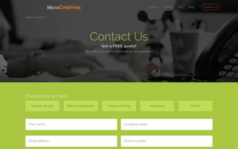 Screenshot of Contact Page microcreatives.com - Get a FREE Quote | MicroCreatives - captured July 13, 2018