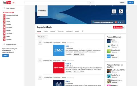Screenshot of YouTube Page youtube.com - AqueductTech  - YouTube - captured Oct. 23, 2014