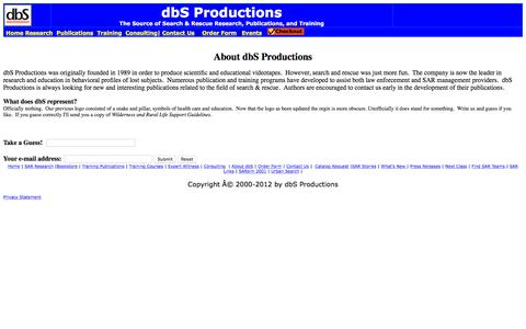 Screenshot of About Page dbs-sar.com - About dbS Productions - captured Feb. 9, 2016