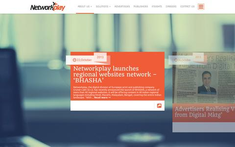 Screenshot of Press Page networkplay.in - Media   Networkplay Media– Official Website - captured Sept. 18, 2014