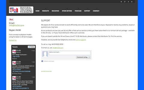 Screenshot of Support Page itis3d.com - Support - IT IS 3D, For the Best in Future Technology Solutions - captured Oct. 4, 2014