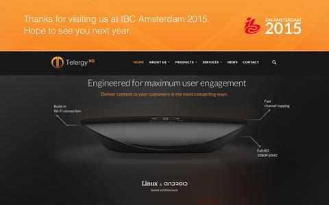 Screenshot of Home Page telergyhd.com - Telergy HD - High Quality Set-Top Boxes - captured Jan. 10, 2016